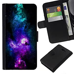 NEECELL GIFT forCITY // Billetera de cuero Caso Cubierta de protección Carcasa / Leather Wallet Case for Sony Xperia M2 // NEON AZUL PÚRPURA GALAXY