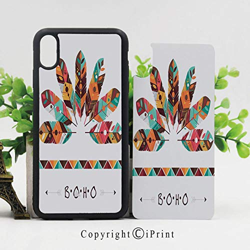 Phone Case Protective Design Pastel Colored Artistic Feathers Native Primitive Tribal Cultures Abstract Ornament Decorative Durable Hard PC Back Phone Cover Compatible for iPhone X,Multicolor