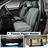 2N16102 Grey-Fabric 2 Front Car Seat Covers + Sun Visor Tissue Paper Holder Clip Compatible To HYUNDAI ACCENT AZERA SONATA SONATA HYBRID SONATA PLUG-IN TUCSON TUCSON FUEL CELL 2017-2007