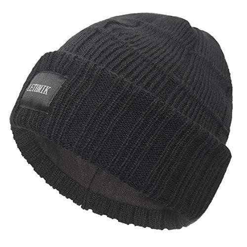 LETHMIK Unique Striped Beanie Hat,Slouchy Cuff Knit Winter Skull Cap Hat for Men&Women