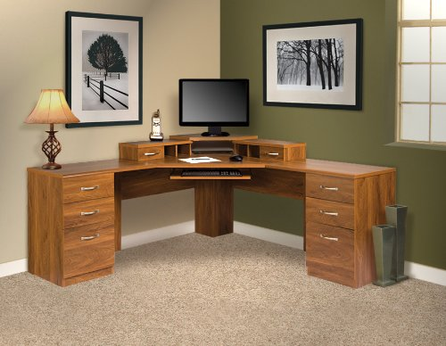 American Furniture Classics L-Work Center with Monitor Platform