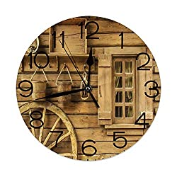 GULTMEE Round Wall Clock Home Decorative, Western, Old Wagon Wheel Next to Rustic Wooden House Vintage Lantern Window Buckets Print, Diameter: 10.2 inch/Thickness 0.2 inch, Brown