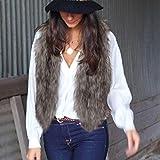 Clearance Faux Fur Vest,Han Shi Women Sleeveless Coat Jacket Gilet Short Waistcoat Tops (Gray, L)