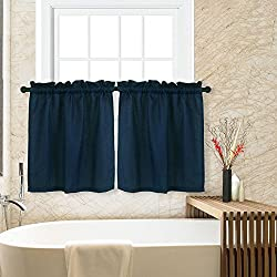 CAROMIO Waffle Woven Textured Short Tier Curtains for Kitchen Bathroom Window Covering Cafe Curtains, 30x36, Navy, Set of 2