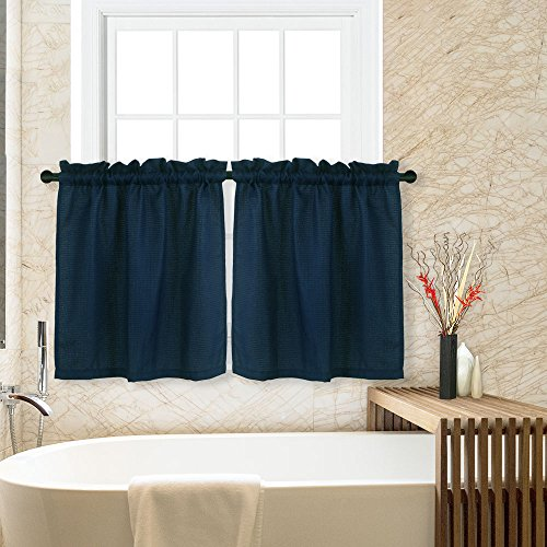 Bathroom Curtain Window Fabric (CAROMIO Waffle Woven Textured Short Tier Curtains for Kitchen Bathroom Window Covering Cafe Curtains, 30x36, Navy, Set of 2)