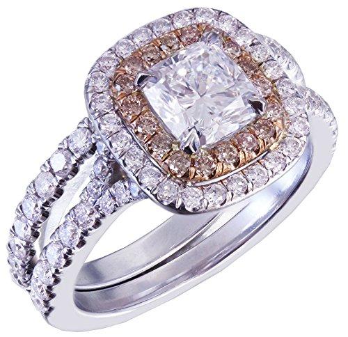 GIA I-VS2 14K White Gold Cushion Cut Diamond Engagement Ring And Band 1.90ct