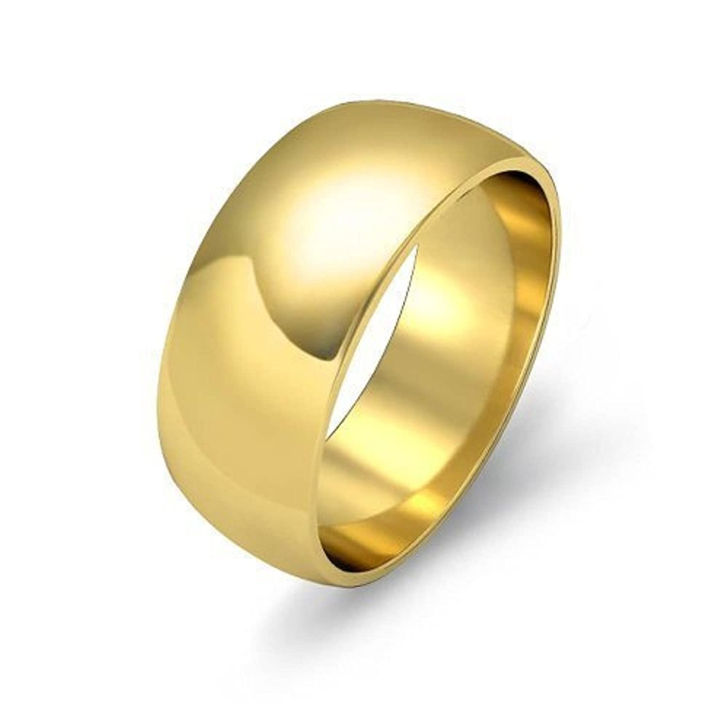 Men/'s Gold Finish Ring Polished Stainless Steel Band New 7mm Sizes 4-13