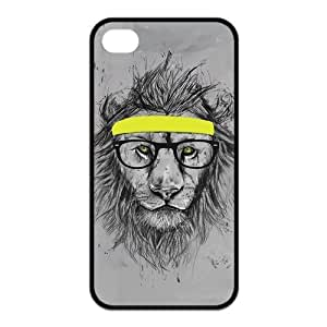 iPhone 4/4S Case, Hipster Lion Hard TPU Rubber Snap-on Case for iPhone 4 / 4S