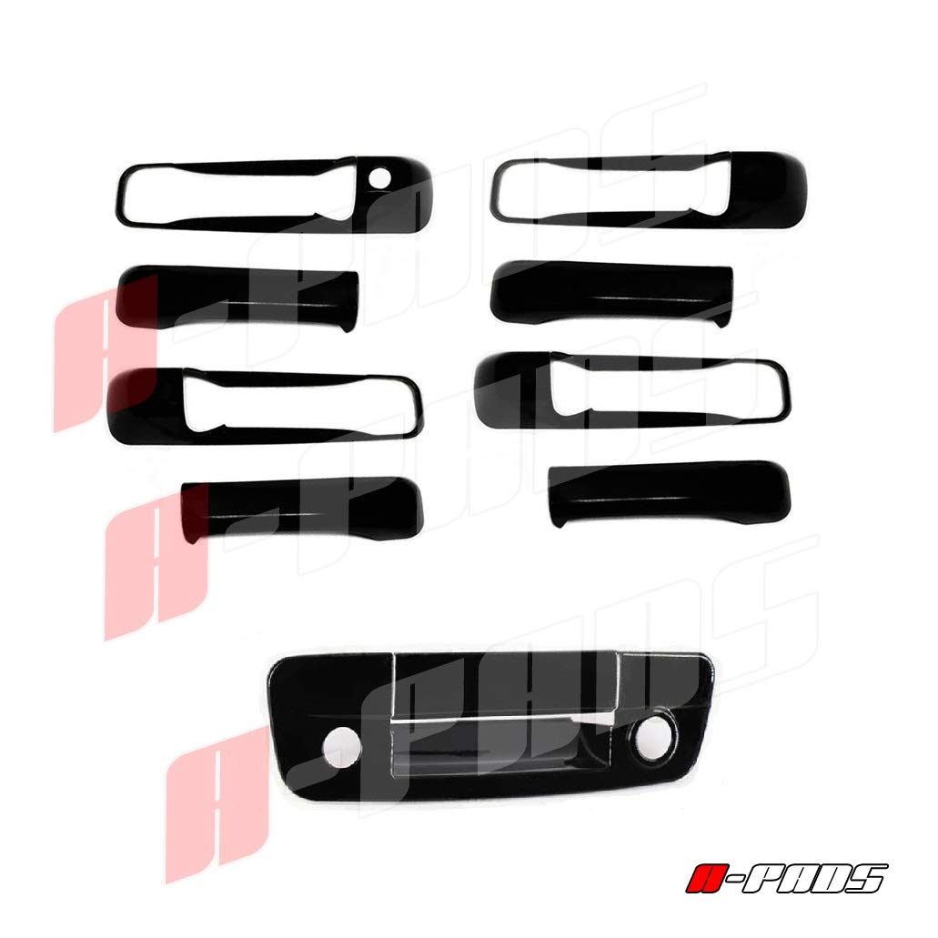 14-15 Chevy Silverado 1500 Gloss Black 2 Door Handle+Tailgate+Camera Hol Cover