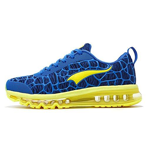 onemix Herren Damen Air Laufschuhe Sportschuhe mit Luftpolster Turnschuhe Leichte Schuhe Sportschuhe Blau Gelb
