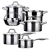 Duxtop Professional Stainless Steel Induction Cookware Set Impact-bonded Technology 10-pc Set