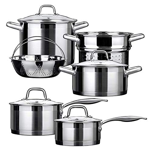 - Duxtop Professional Stainless Steel Induction Cookware Set Impact-bonded Technology 10-pc Set