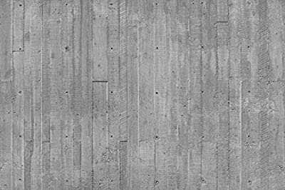 12-Feet wide by 8-Feet high. Prepasted robust wallpaper mural from a very high res. photo of: Concrete Planks.Need to touch to check if real. Our murals are easy to hang remove and reuse (hang again)