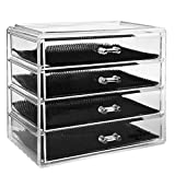 ISWEES 4 Tier Makeup Organizer, Make Up Storage Box,Cosmetic Insert Holder,Jewelry Watches Display Cube With 4 Large Long Removable Drawers-Space Saving,Clear Acrylic
