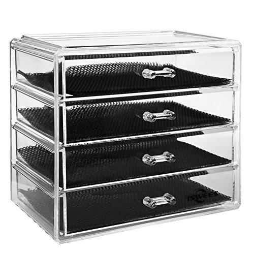 Organizer, Make Up Storage Box,Cosmetic Insert Holder,Jewelry Watches Display Cube With 4 Large Long Removable Drawers-Space Saving,Clear Acrylic (4 Tier Box)