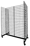 Black Grid Gondola Unit - Includes Base and Casters - Grid Unit 48''L x 66''H x 24''W