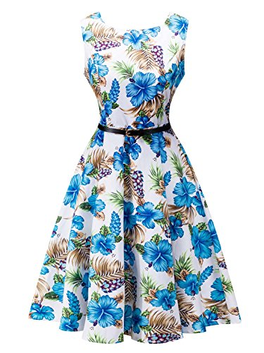 FEOYA-Womens-Vintage-1950s-Print-Floral-Party-Cocktail-Prom-Swing-Dress