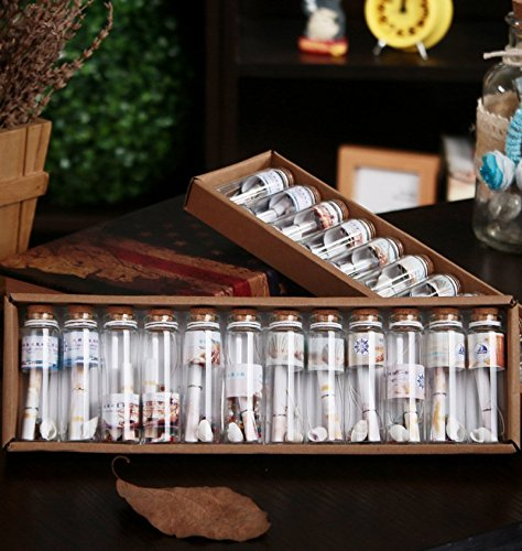 AKOAK 12Pcs/Set Clear Transparent Fashion Note Mini Wishing Bottle Seashell Note Romantic Drifting Bottle Lucky Bottle with Cork Stoppers for Birthday Gift