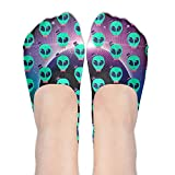Hipster Alien With Hat Women's Non Slip No-Show Casual Liner Low Cut Boat Socks
