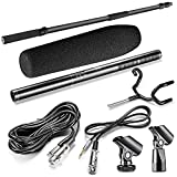 Neewer NW-7000 Portable 3 Sections Stretchable 3-8 feet Handheld Microphone Boom Pole with Uni-Directional Mono Microphone and Metal Boompole Support Holder for Media Interviews, Conferences (Black)
