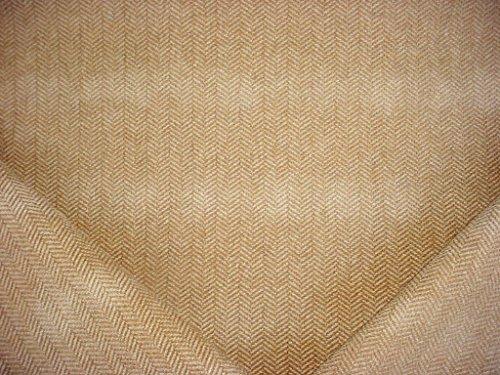 94RT15 - Cashew / Light Beige Textured Herringbone Zig Zag Chenille Designer Upholstery Drapery Fabric - By the Yard ()