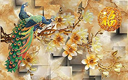 Kayra Decor Peacock In The Garden 3D Wallpaper Available In All Size ,  (Height 3