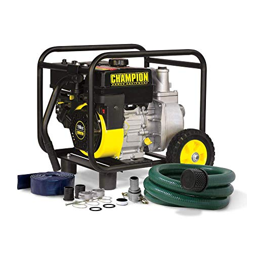 - Champion 2-Inch Gas-Powered Semi-Trash Water Transfer Pump with Hose and Wheel Kit
