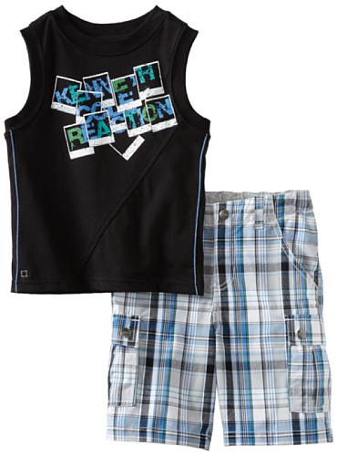 Kenneth Cole Little Boys' Top with Plaid Short