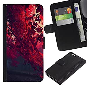 NEECELL GIFT forCITY // Billetera de cuero Caso Cubierta de protección Carcasa / Leather Wallet Case for Apple Iphone 6 PLUS 5.5 // Red otoño