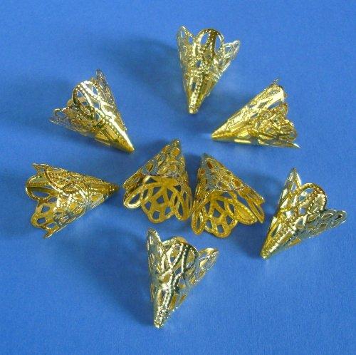 BeadsTreasure 20pcs - Filigree Cone Gold Plated Bead Caps 20 mm Jewelry Making Supply. Filigree Cone