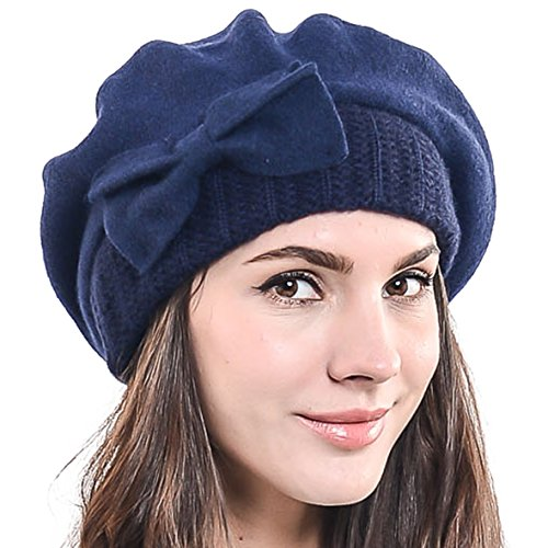 - Lady French Beret Wool Beret Chic Beanie Winter Hat Jf-br034 (HY022-Navy)