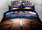 Luckey1 Basketball Print 3D Bedding Sets Full Size for Teen Boys,Cotton Duvet/Comforter Cover Bedding Sets Full 4 Pieces,1 Duvet Cover,1 Flat Sheet,2 Pillowcases (Full, Style-5)