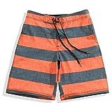 Men's Quick Dry 4-Way Stretch Orange Gray Stripes