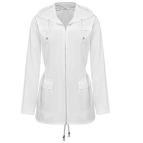 estilo novedoso outlet(mk) zapatos deportivos Chubasquero mujer lluvia Impermeable blanco impermeable con ...
