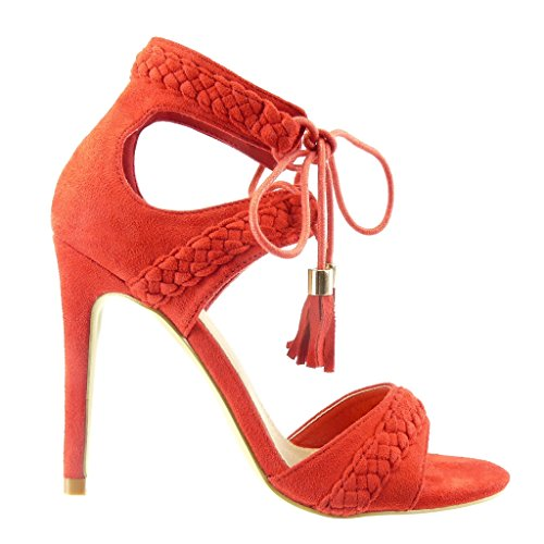 Angkorly Women's Fashion Shoes Sandals Pump Court Shoes - Stiletto - Open - Braided - Pom Pom - Fringe Stiletto High Heel 11 cm Red HnvjxezJP9