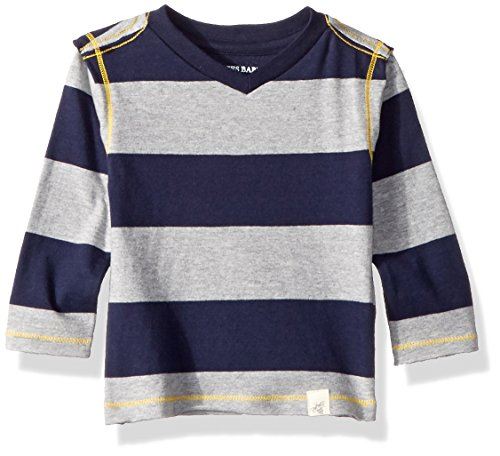 Burt's Bees Baby Baby Boys' T-Shirt, Long Sleeve V-Neck and Crewneck Tees, 100% Organic Cotton, Midnight Rugby Stripe, 12 Months