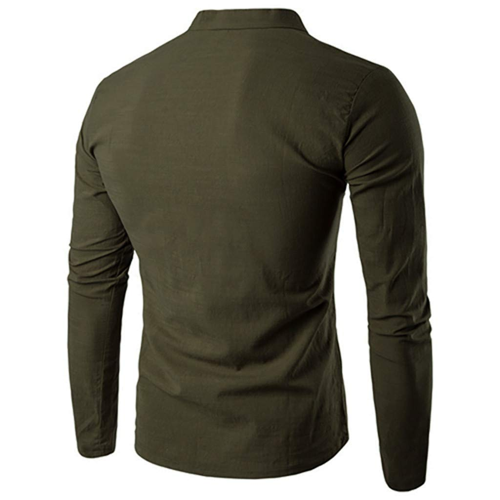 Pervobs Men's Basic Solid Long Sleeve Splicing V-Neck Button Henry T-Shirt Top Blouse(2XL, Army Green) by Pervobs Mens T-Shirts (Image #2)