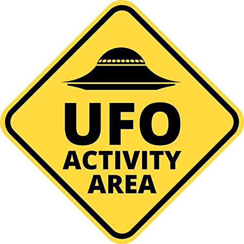 StickerTalk 5in x 5in UFO Activity Area Magnet Alien Caution Vinyl Truck Bumper
