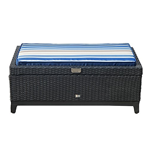 Orange Casual Aluminum Frame Resin Wicker Storage Bench With Tea Table  Function,Black Rattan And Striped Cushion