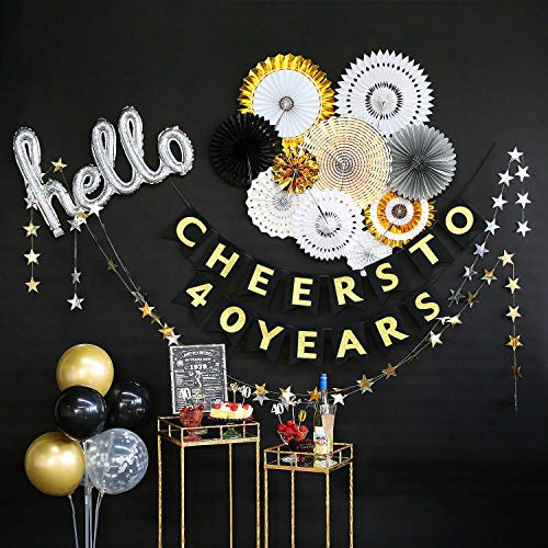 40th Birthday Decorations by Hombae, Back in 1979 Sign, 40th Bday Decorations for Women or Men, 40 Years Old Party Supplies, Cheers to 40 Years Banner, All in One Kit]()