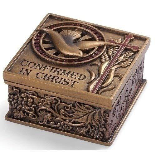 - Confirmed In Christ Dove Bronze Tone 2.75 x 2.75 Resin Stone Memory Trinket Box