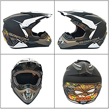 Ocamo Fashion Outdoor Off Road Casco Motorcycle /& Moto Dirt Bike Motocross Racing Helmet Set with Mask XL Matte black and green