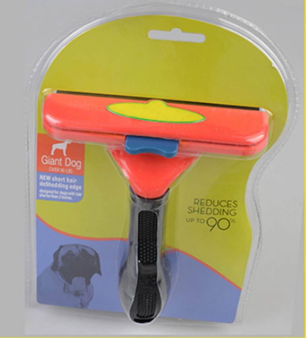 ZHAOLV Practical Pet Grooming Brush Dog Cat Shedding Grooming Trimmer Hair Fur Comb Brush Rake Tool (Color : Red Short Hair XL, Size : As Shown)
