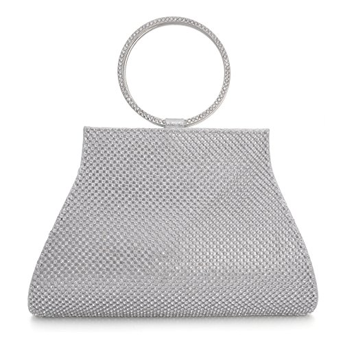 Clutch Women's Handbag Lady Party Crystal Evening Bags Silver - 7