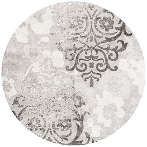 Safavieh Adirondack Collection ADR114B Silver and Ivory Contemporary Chic Damask Round Area Rug (10' in Diameter)