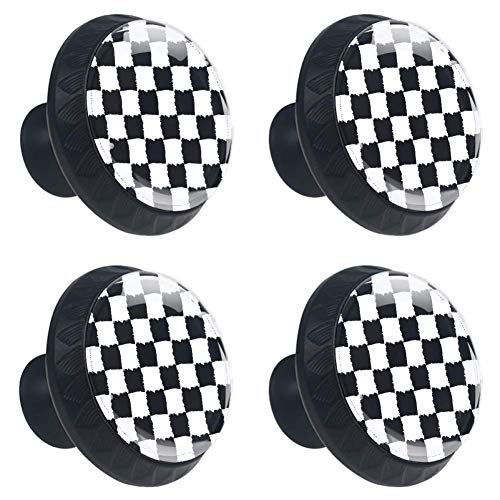 (Anmarco Black and White Checked Plaid Drawer Knobs Pull Handles 30MM 4 Pcs Glass Cabinet Drawer Pulls for Home Kitchen Cupboard)