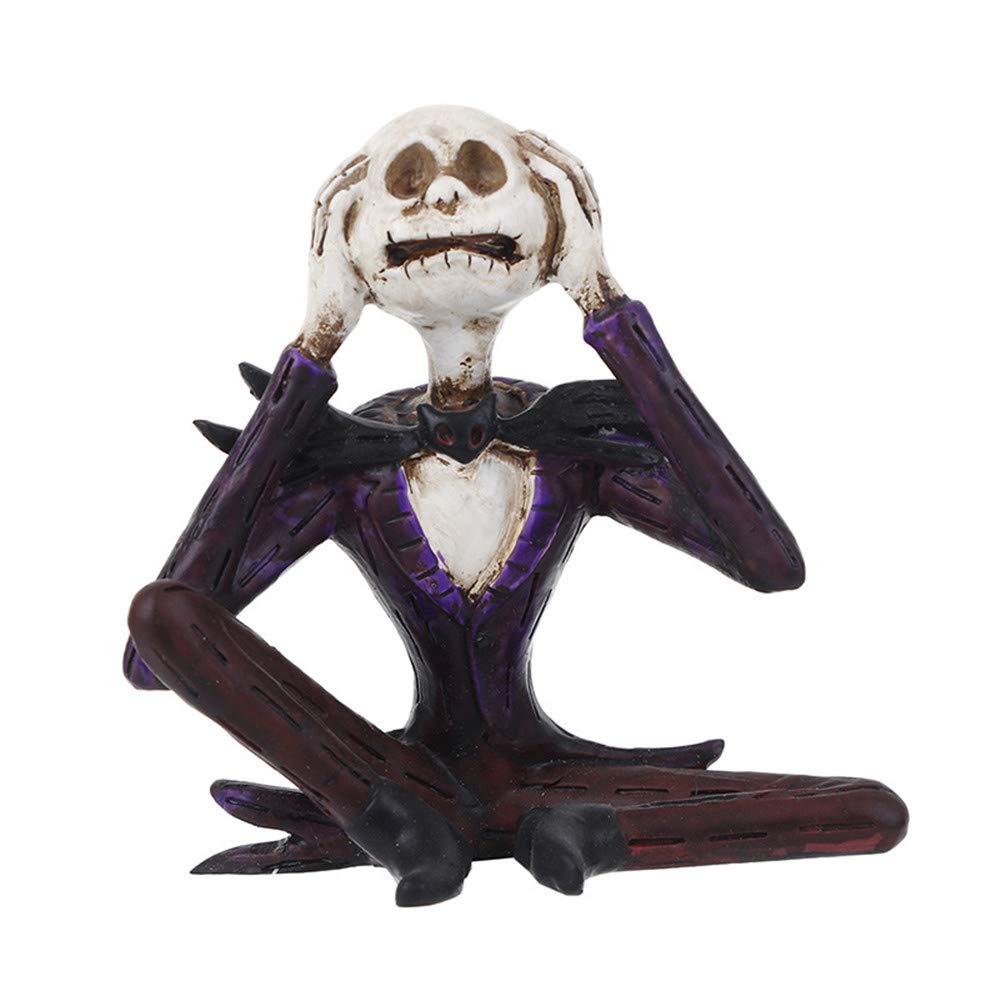 TechCode Resin Halloween Skulls, Halloween Gothic Sculpture Gift Decor Simulation Model Fashion Figurine Skull Skeleton Sculptures Skull Creative Resin Creative Gift Decoration(A12)