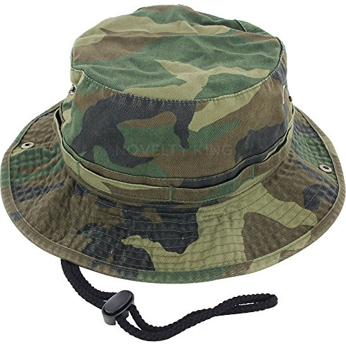 (100% Cotton Boonie Fishing Bucket Hat with String ,Woodland Camo)