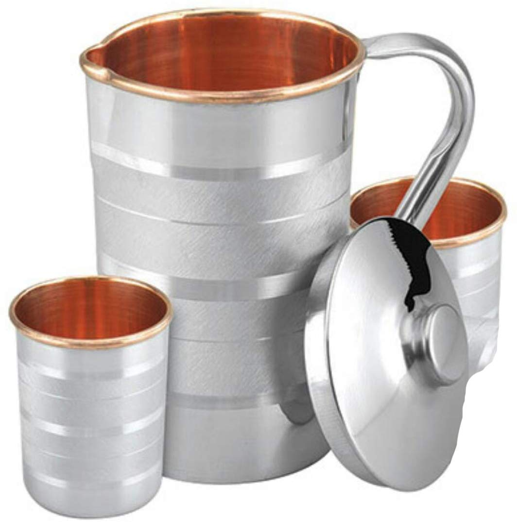Copper Steel Jug Pitchers with 4 Copper Steel Glass 1700ml Jug 300ml Glass Each