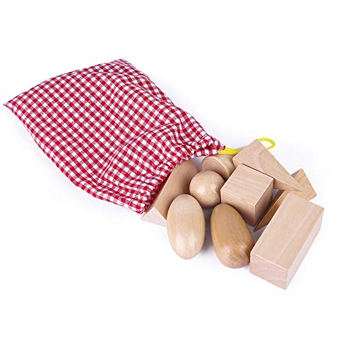 Geometry Solids in Mystery Bag Ages 3 and Up BOHS 3D Shapes Miniature Set -Wooden Montessori Toys Pack of 10pcs